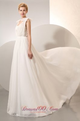 Vintage Empire Ruched Chiffon High-class Wedding Dress