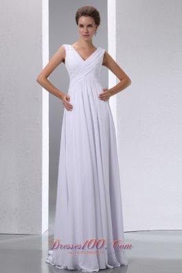 Empire V-neck High-class Beaded Chiffon Wedding Dress
