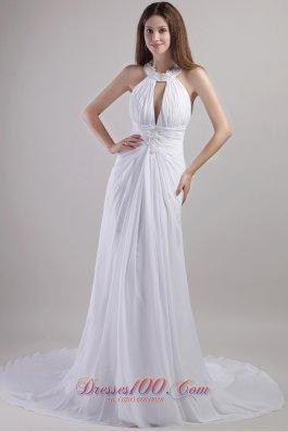 Sassy Sheath Column Halter Ruched Wedding Dress