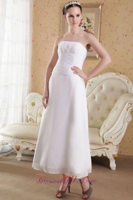 Strapless Ankle-length Satin Ruch Wedding Dress
