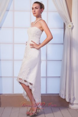 Strapless Dapper High-low Beaded Lace Wedding Dress