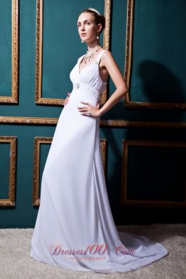 Empire V-neck Ruched Chiffon Beaded Beach Wedding Dress