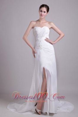 White Empire Ruched Sweetheart Chiffon Wedding Dress