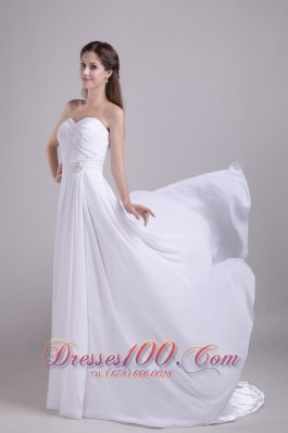 Sweetheart Ruched Train Chiffon Beading Bridal Gowns