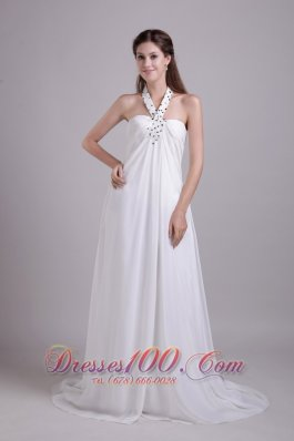 Impressive Halter Chiffon Beaded Beach Wedding Dress