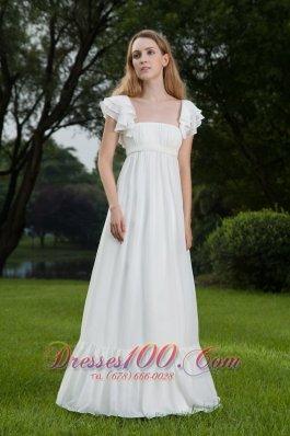 Latest Sassy Square Floor-length Chiffon Wedding Dress