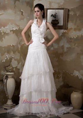 Pretty Halter Wedding Dress Floral Taffeta Organza