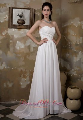 Empire Sweetheart Wedding Dress Beaded Ruched