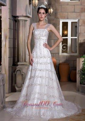 Straps Beaded Taffeta and Lace Beading Wedding
