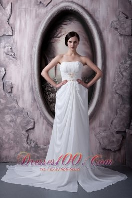 Empire Strapless Appliques Chiffon Bridal Gowns