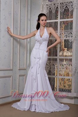 Mermaid Inexpensive Halter Beading Wedding Dress