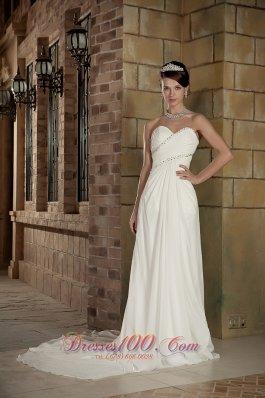 Empire Sweetheart Chiffon Beading Wedding Dress