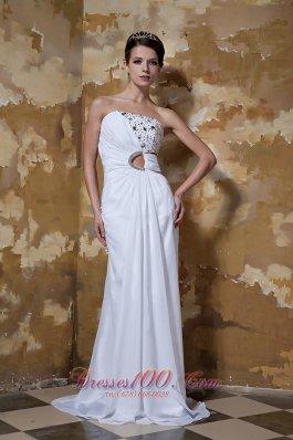 Column New Ruched Wedding Dress Chiffon Beaded