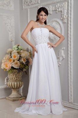 Empire Strapless Wedding Dress Chiffon Beading