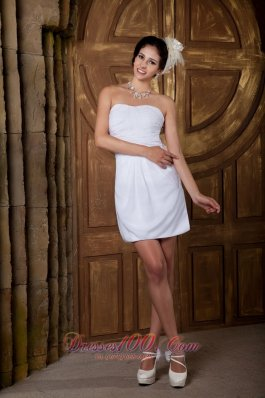 Strapless Mini-length Chiffon Ruch Wedding Dress