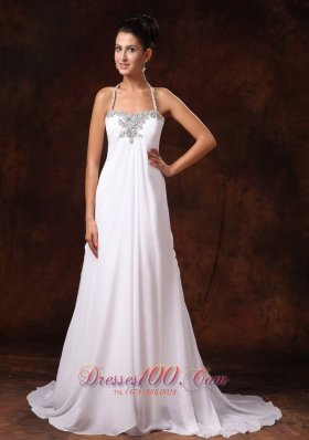 Custom Court Train Empire Wedding Dress Appliques