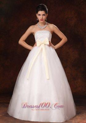 Custom Champagne Bowknot Latest A-Line Bridal Dress