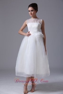 Bateau Organza Zipper-up Beach Wedding Dress