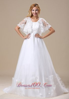 Custom Wedding Dress Short Sleeves Brush Train
