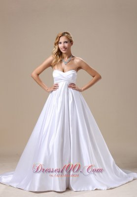 Watermelon Sweetheart Wedding Dresses with Brush Train