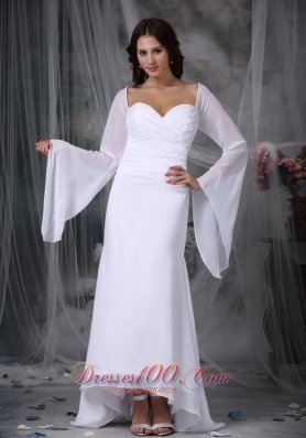 Sweetheart High-low Chiffon Ruch Bridal Dress