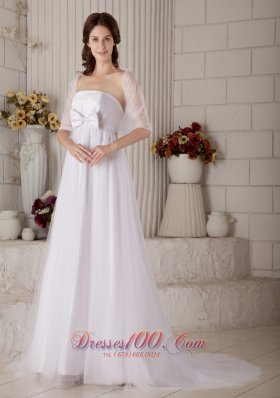 StraplessBrush Train Tulle Bow Wedding Dress