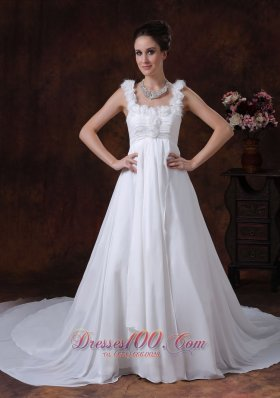 A-Line Straps Chapel Train Chiffon Wedding Dress