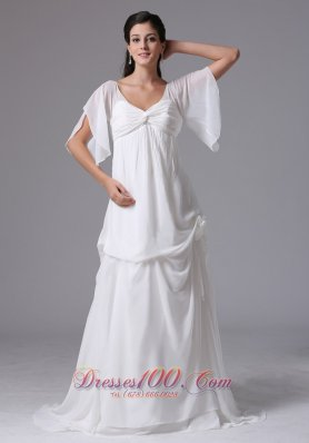 Sassy Scoop Short Sleeves Wedding Dress Ruches