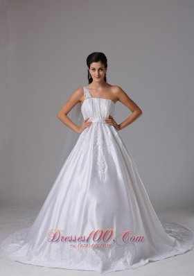 A-line One Shoulder Wedding Dress Embroidery Ruches
