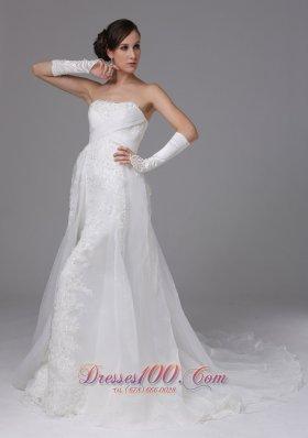 Unique Organza Strapless and Brush Train Bridal Dress