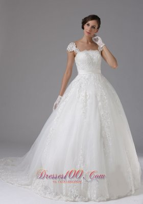 Custom Wedding Dress Lace Sassy Cap Sleeves