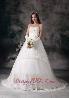A-line Strapless Bridal Dress Taffeta Lace Court Train