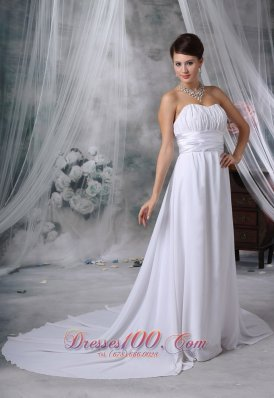 Ruched Court Train Strapless Chiffon Wedding Dress