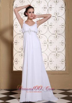 Elegant White Prom Dress V-neck Beaded Brush Train Gown