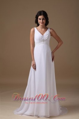 Dapper Empire V-neck Chiffon Beaded Wedding Dress