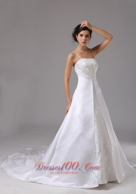 Spaghetti Straps Wedding Dress Lace Satin Court Train