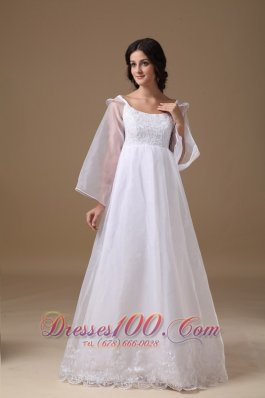 High-class Scoop Floor-length Organza Lace Wedding Dress