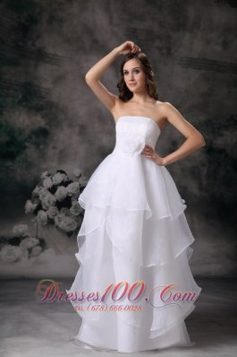 Modest Strapless Inexpensive Wedding Dress Discounted
