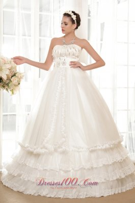 Luxurious Strapless Tulle Taffeta Beaded Wedding Dress