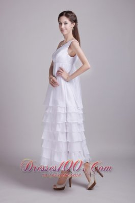 White Empire One Shoulder Vintage Ruffles Wedding Dress