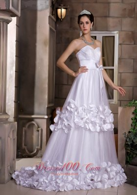Cute Sweetheart Taffeta Tulle Discounted Wedding Dress