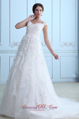 Latest A-line V-neck Wedding Dress Tulle Lace Court Train