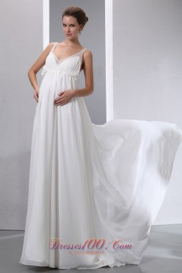 A-line V-neck Maternity Wedding Dress Chiffon Beading