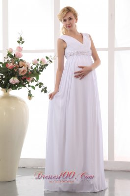 Populor V-neck Maternity Wedding Dress Chiffon Beaded