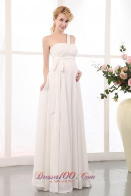 Beauty One Shoulder Maternity Wedding Dress Chiffon Sash