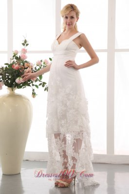 Vintage Modest Column Straps Wedding Dress Chiffon