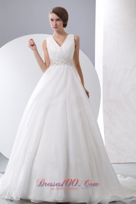 Gergeous A-line V-neck Wedding Dress Taffeta Organza Ruch