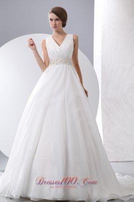 Gergeous A-line V-neck Wedding Dress Taffeta Organza Ruch