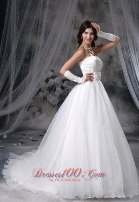 Appliques Bust A-line Chapel Train Organza Wedding Dress