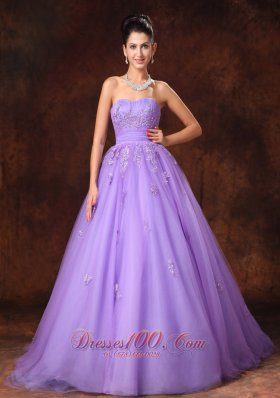 Lilac Tulle Appliques Court Train Custom Wedding Dress